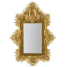 Gold Leaf Cast Resin Seraphim Mirror with Gold Eglomise and Rock Crystal Accents