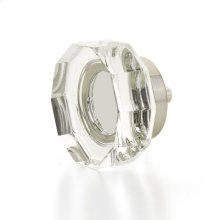 "City Lights, Large Multi-Sided Glass Knob, Satin Nickel, 1-3/4"" dia"