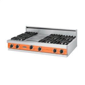 """Pumpkin 48"""" Sealed Burner Rangetop - VGRT (48"""" wide, six burners 12"""" wide griddle/simmer plate)"""