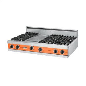 "Pumpkin 48"" Sealed Burner Rangetop - VGRT (48"" wide, six burners 12"" wide griddle/simmer plate)"