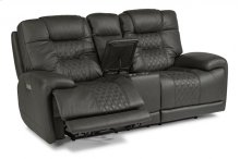 Royce Leather Power Reclining Loveseat with Console and Power Headrests