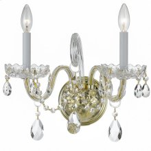 Traditional Crystal 2 Light Swarovski Strass Crystal Brass Sconce