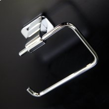 Wall mount toilet paper holder made of chrome plated brass.