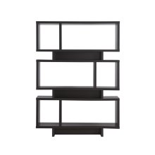 Contemporary Cappuccino Geometric Bookcase