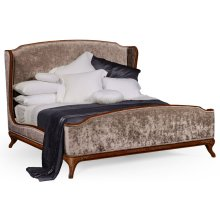 US King Louis XV Walnut Bed, Upholstered in Truffle Velvet