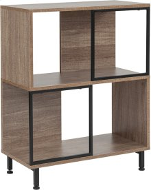 "Paterson Collection 2 Shelf 26""W x 31.5""H Bookcase and Storage Cube in Rustic Wood Grain Finish"