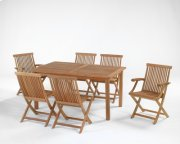 Rectangular Table with Umbrella Cutout, Folding Java Side Chair, Folding Java Arm Chair Product Image