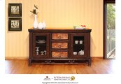"""63"""" TV Console w/3 drawers, 2 glass doors"""