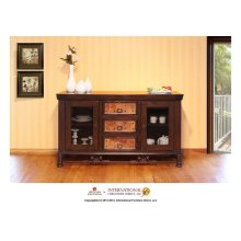 "63"" TV Console w/3 drawers, 2 glass doors"