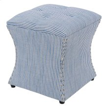 Amelia Nailhead Storage Ottoman, Blue stripes