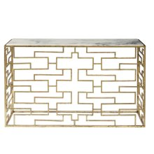 Marble Top Gold Foil Console - Top