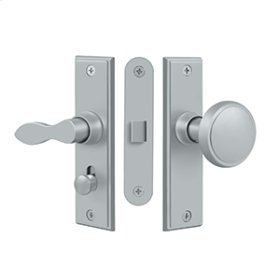 Storm Door Latch, Square, Mortise Lock - Brushed Chrome