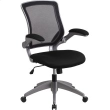 Mid-Back Black Mesh Swivel Ergonomic Task Office Chair with Gray Frame and Flip-Up Arms