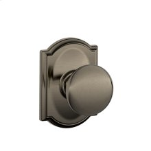 Plymouth Knob with Camelot trim Hall & Closet Lock - Antique Pewter