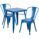 23.75'' Square Blue Metal Indoor-Outdoor Table Set with 2 Stack Chairs Product Image