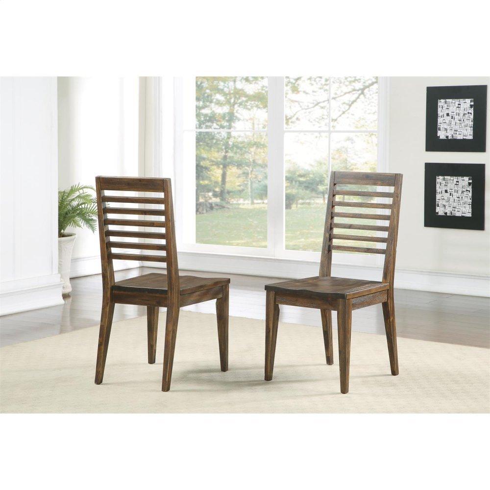 Modern Gatherings - Slat Back Side Chair - Brushed Acacia Finish