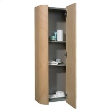 Aeri vertical wall mount storage unit with mirrored door and four shelves.