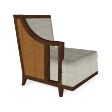 """29"""" Walnut & Tan Rattan Right One-Seat Sofa Sectional, Upholstered in Standard Outdoor Fabric"""