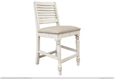 "24"" Barstool w/ Turned Legs & Fabric Seat"