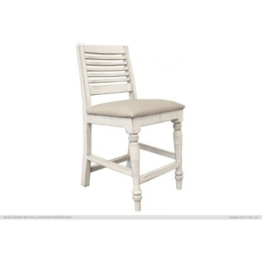 "24"" Barstool w/ Turned Legs & Fabric Seat"