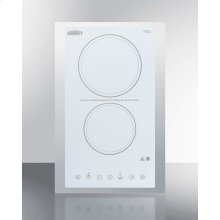 """230v 2-burner Cooktop In White Ceramic Schott Glass With Digital Touch Controls and Stainless Steel Frame To Allow Installation In 15"""" Counter Cutouts, 3000w"""