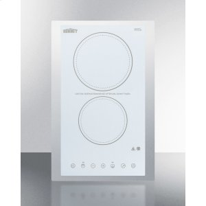 "Summit230v 2-burner Cooktop In White Ceramic Schott Glass With Digital Touch Controls and Stainless Steel Frame To Allow Installation In 15"" Counter Cutouts, 3000w"