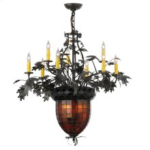 "34""W Greenbriar Oak 9 Arm Chandelier"