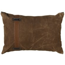 Antique Green Canvas Lumbar Pillow with Side Strap and Faux Leather Accents