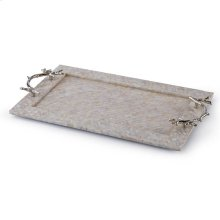 Mother of Pearl Tray With Coral Handles