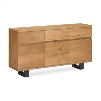 Waxed Oak Live Edge Sideboard Metal Base Product Image