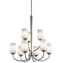 Aubrey 9 Light Chandelier with LED Bulbs Brushed Nickel