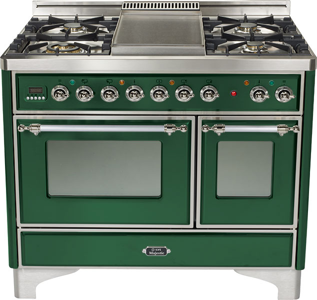 "Emerald Green 40"" 6 Burner Majestic Techno Dual Fuel Range