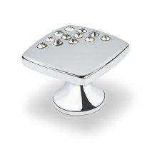 Small Sqaure Knob With Corner Crystals, Bright Chrome