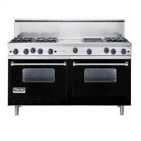 """Black 60"""" Open Burner Commercial Depth Range - VGRC (60"""" wide, six burners 12"""" wide griddle/simmer plate 12"""" wide char-grill)"""