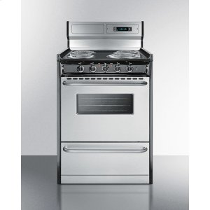 "SummitDeluxe 220v Electric Range In Slim 24"" Width With Stainless Steel Doors"