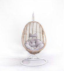 Complete Swing Basket W/cushion Spunpolyester Gray #lgr01-cream Wicker Frame