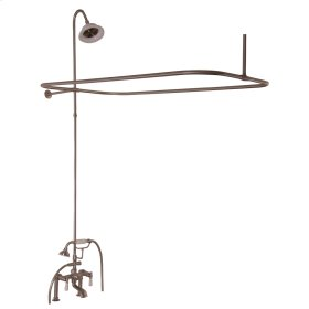 Tub/Shower Converto Unit - Elephant Spout, Shower Ring, Riser, Showerhead, Lever Handles - Polished Brass