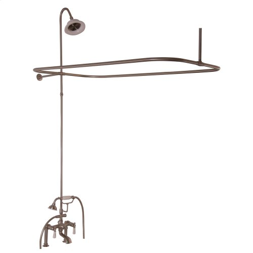 Tub/Shower Converto Unit - Elephant Spout, Shower Ring, Riser, Showerhead, Lever Handles - Brushed Nickel