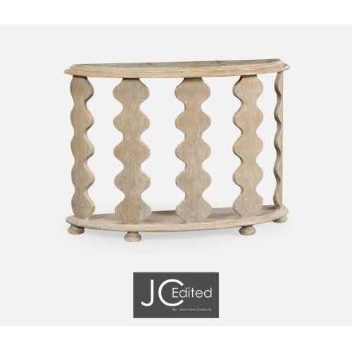 Demilune Console Table in Limed Acacia