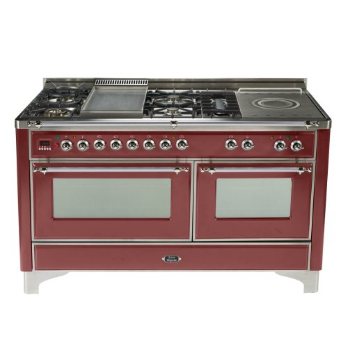 Burgundy with Chrome trim - Majestic 60-inch Range with Griddle + French Cooktop
