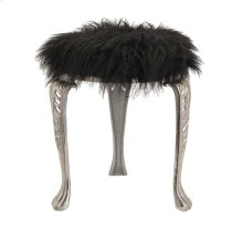 Nikki Chu Neely Black Fur Stool