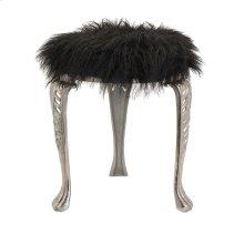 Nikki Chu Neely Black Fur Stool