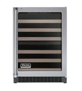 """Stainless Steel 24"""" Glass Door Dual Zone Wine Cellars - VUWC (Left Hinge Clear Door)"""