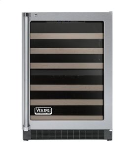 """Stainless Steel 24"""" Glass Door Dual Zone Wine Cellars - VUWC (Right Hinge Clear Door)"""