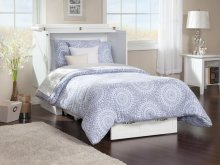 Nantucket Twin Murphy Bed Chest in White with Charging Station