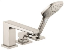 Brushed Nickel 3-Hole Roman Tub Set Trim with Loop Handle and 2.0 GPM Handshower