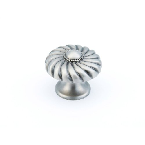 "Solid Brass, Casual Elegance, Round Knob, 1-3/8"" diameter, Light Antique Nickel finish"