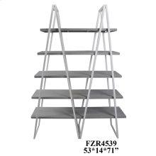 Tyson White Metal and Distressed Grey Tiered Bookshelf