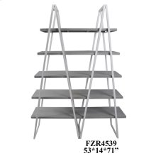 Tyson White Metal and Distressed Grey Tiered Bookshelf