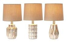 3 pc. ppk. Ivory Reactive Glaze Mini Accent Lamp. 40W Max. (3 pc. ppk.)